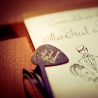 Reception, Flowers & Decor, Favors & Gifts, white, blue, brown, Favors, Band, Guitar, Inspiration board, Personalized, Picks