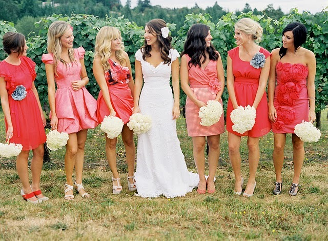 Beauty, Flowers & Decor, Jewelry, Bridesmaids, Bridesmaids Dresses, Wedding Dresses, Shoes, Fashion, orange, dress, Makeup, Bridesmaid Bouquets, Flowers, Hair, Dresses, Flower Wedding Dresses