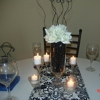 Reception, white, blue, black, Flowers & Decor
