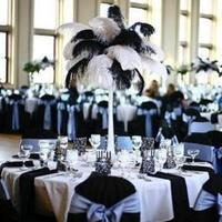 Beauty, Reception, Flowers & Decor, white, black, Feathers, Center, Piece