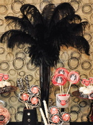 Beauty, Reception, Flowers & Decor, black, Feathers, Center, Piece