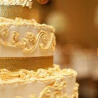 Cakes, white, green, black, gold, cake