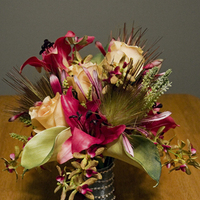 Flowers & Decor, yellow, pink, green, silver, Flowers