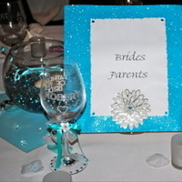 Reception, Flowers & Decor, Decor, Registry, blue, Drinkware, Table, Glasses, Pool, Aqua, Wine, Signs, Glitter, Turqouise