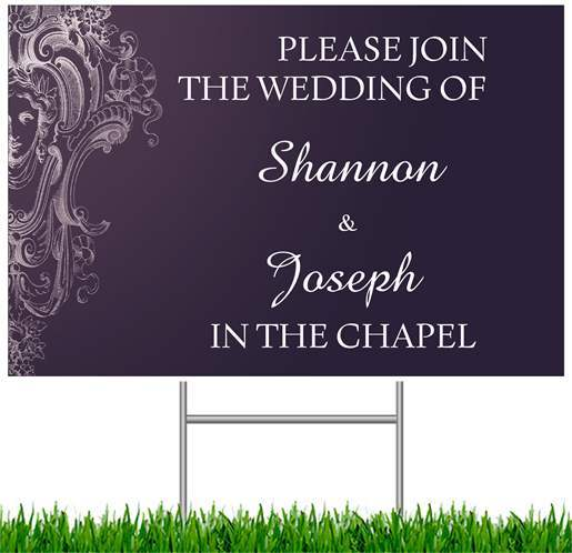 Ceremony, Flowers & Decor, purple, Sign