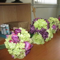 Ceremony, Flowers & Decor, Bridesmaids, Bridesmaids Dresses, Fashion, purple, green, Ceremony Flowers, Bride Bouquets, Bridesmaid Bouquets, Flowers, Roses, Bouquet, Hydrangea, Flower Wedding Dresses