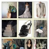 Beauty, Reception, Flowers & Decor, white, blue, green, brown, black, Feathers, Inspiration board, Peacock