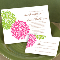 Stationery, pink, green, silver, Invitations