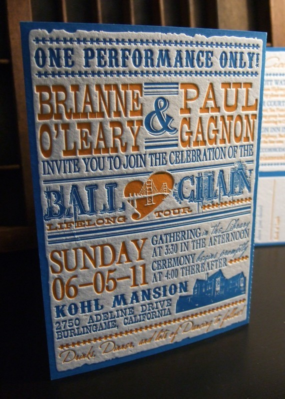 Stationery, orange, blue, invitation, Vintage, Vintage Wedding Invitations, Invitations, Letterpress