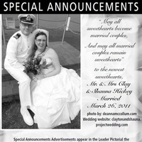 Ceremony, Reception, Flowers & Decor, Stationery, white, black, Announcements, Announcement, Newspaper, Claytonandshauna