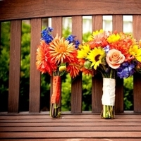 Flowers & Decor, yellow, orange, blue, green, Bride Bouquets, Bridesmaid Bouquets, Fall, Flowers, Fall Wedding Flowers & Decor, Bouquet, Bridesmaid, Orchids, Sunflowers, Hydrangeas, Dahlias, Autumn, Billy, Balls