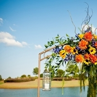 Ceremony, Flowers & Decor, yellow, orange, blue, green, Ceremony Flowers, Fall, Candles, Flowers, Fall Wedding Flowers & Decor, Arch, Orchids, Sunflowers, Hanging, Greenery, Hydrangeas, Dahlias, Autumn, Arbor, Candleholders, Willow