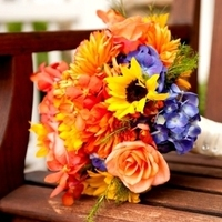 Flowers & Decor, yellow, orange, blue, green, Bride Bouquets, Fall, Flowers, Fall Wedding Flowers & Decor, Bouquet, Orchids, Sunflowers, Hydrangea, Dahlia