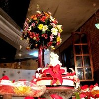 Reception, Flowers & Decor, Cakes, white, yellow, red, black, gold, cake, Flowers