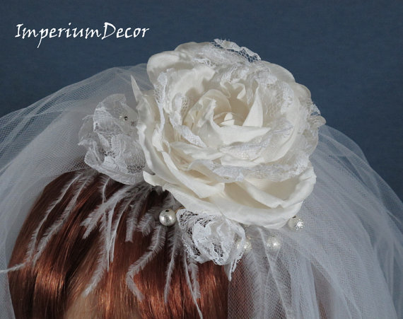 Flowers & Decor, Veils, Fashion, white, Flower, Veil, Head, Double