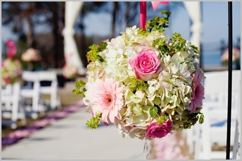 Ceremony, Flowers & Decor, white, pink, green, Ceremony Flowers, Aisle Decor, Flowers, Roses, Pomander, Hydrangea, Aisle, Daisies, Shepherds, Hook