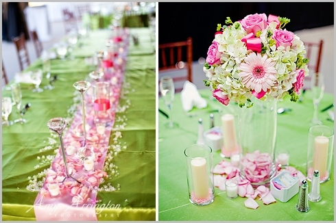 Reception, Flowers & Decor, white, pink, green, Centerpieces, Candles, Flowers, Roses, Centerpiece, Pomander, Hydrangea, Petals, Daisies, Bling, Crystals, Lisianthus