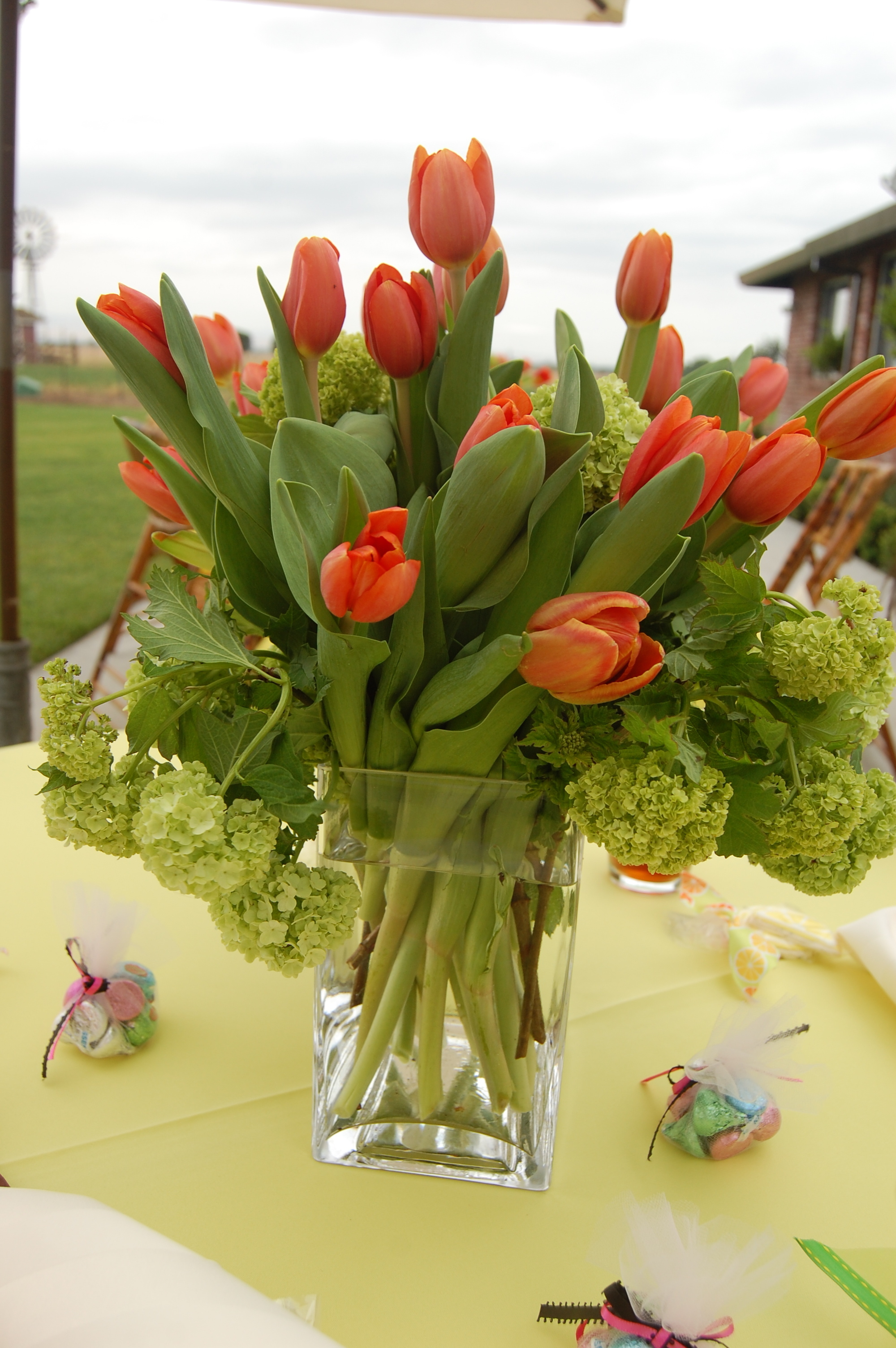 Flowers & Decor, yellow, orange, Flowers, Bridal, Table, Tulips, Shower, Cloth