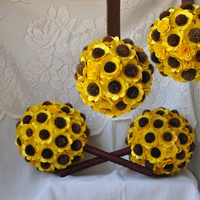 Flowers & Decor, yellow, blue, brown, Flowers