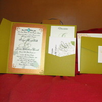 Stationery, orange, green, Invitations