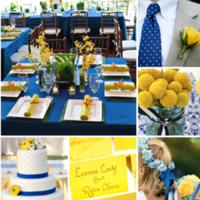 Reception, Flowers & Decor, yellow, blue, Inspiration board