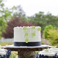 Reception, Flowers & Decor, Cakes, blue, cake, Rustic, Rustic Wedding Flowers & Decor, Cakestand