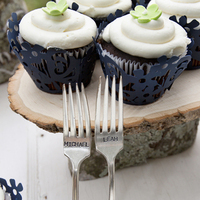 Registry, blue, Rustic, Cupcakes, Place Settings, Forks