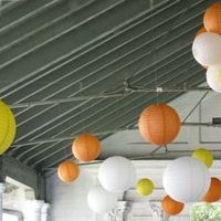 Reception, Flowers & Decor, Paper, white, ivory, yellow, orange, Outdoor, Chinese, Lanterns