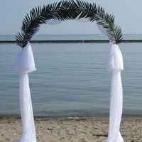Ceremony, Flowers & Decor, Decor, white, Beach, Beach Wedding Flowers & Decor, Arch, Palm, Frond