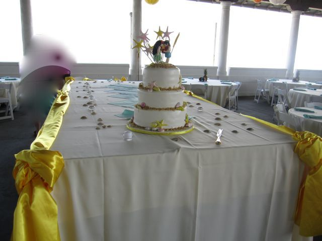 Reception, Flowers & Decor, Cakes, white, yellow, cake, Outdoor