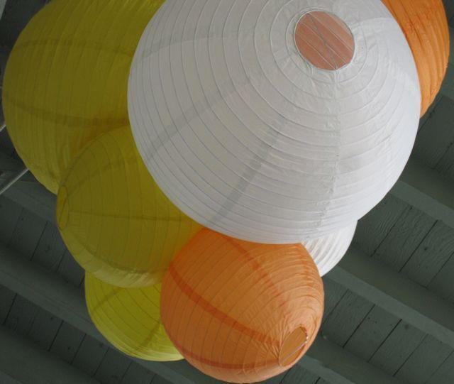 Paper, yellow, orange, Outdoor, Chinese, Lantern