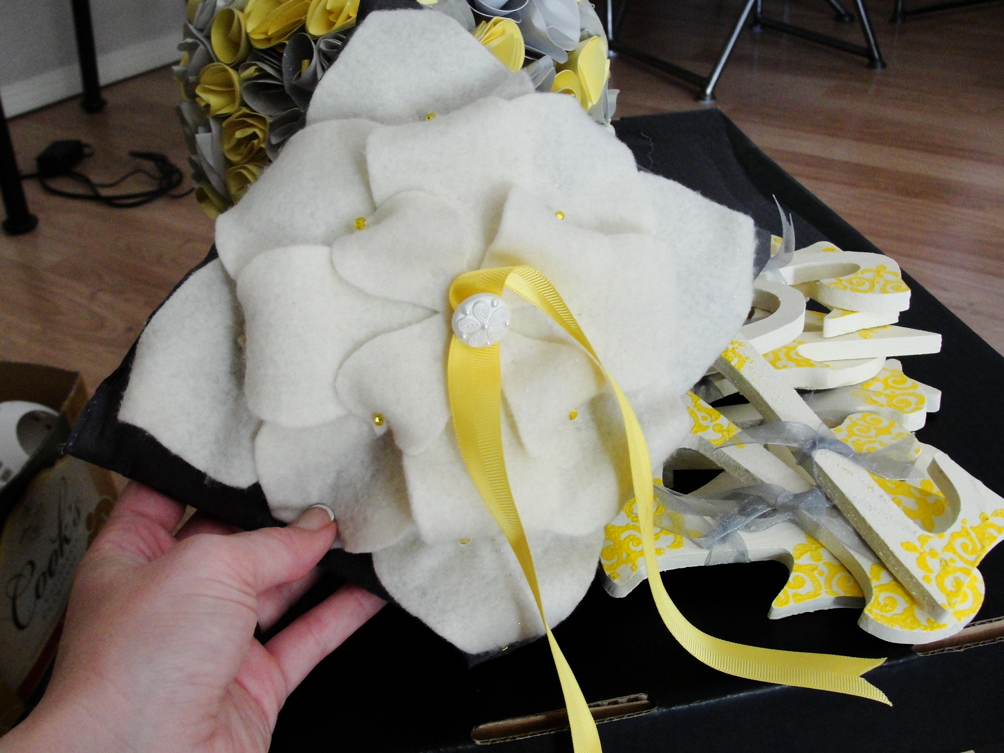 Ceremony, Flowers & Decor, yellow, silver, Ring, Pillow, Bearer