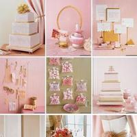 Reception, Flowers & Decor, Favors & Gifts, Wedding Dresses, Stationery, Cakes, Fashion, pink, gold, cake, dress, Favors, Invitations, Inspiration board