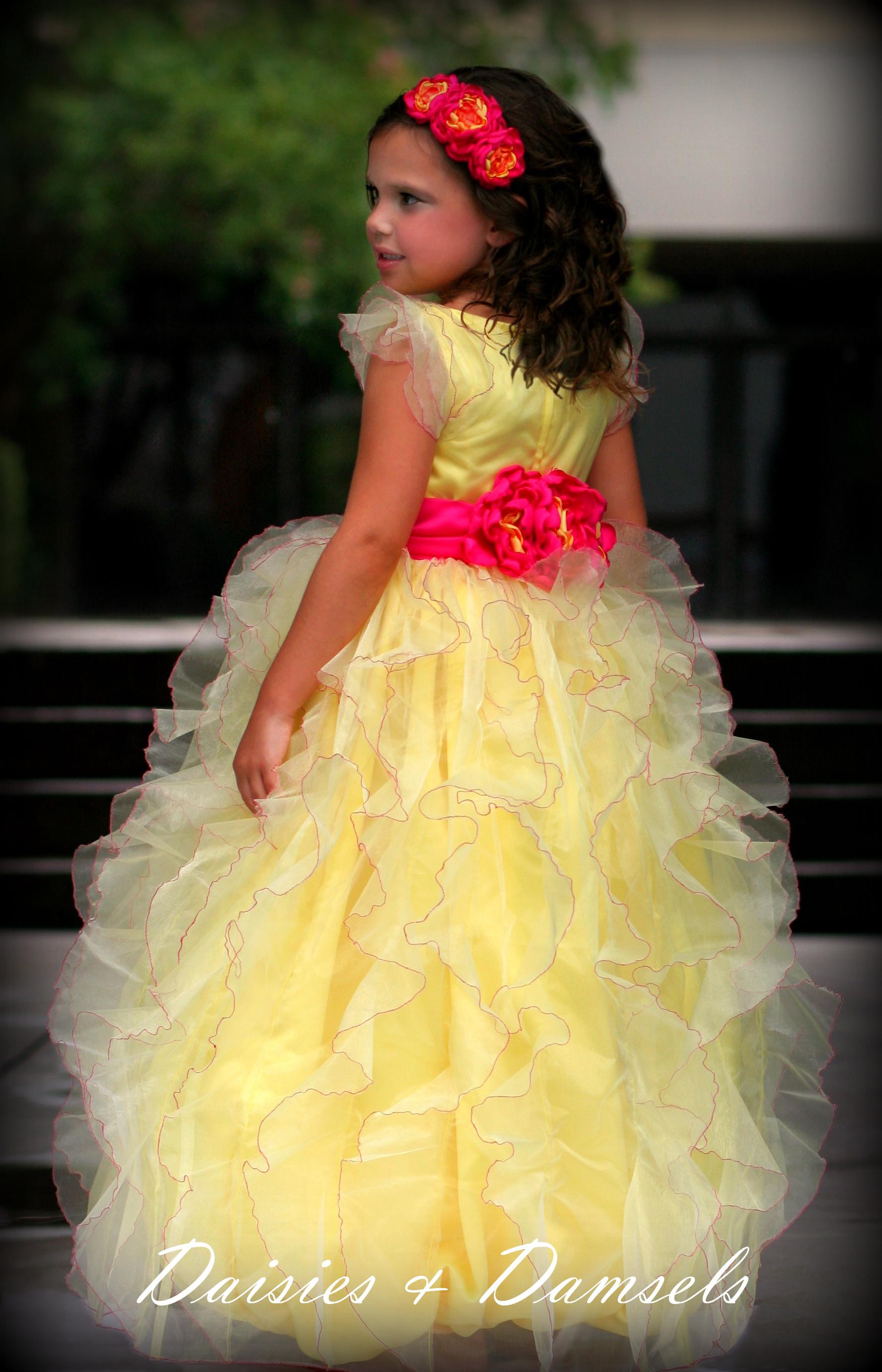 Flowers, Hair, pink, dress, yellow, Flower, Girl, Peonies, Headband, Peony, Fuchsia, Beauty, Headbands, Flowers & Decor, Fashion, Wedding Dresses, Flower Wedding Dresses
