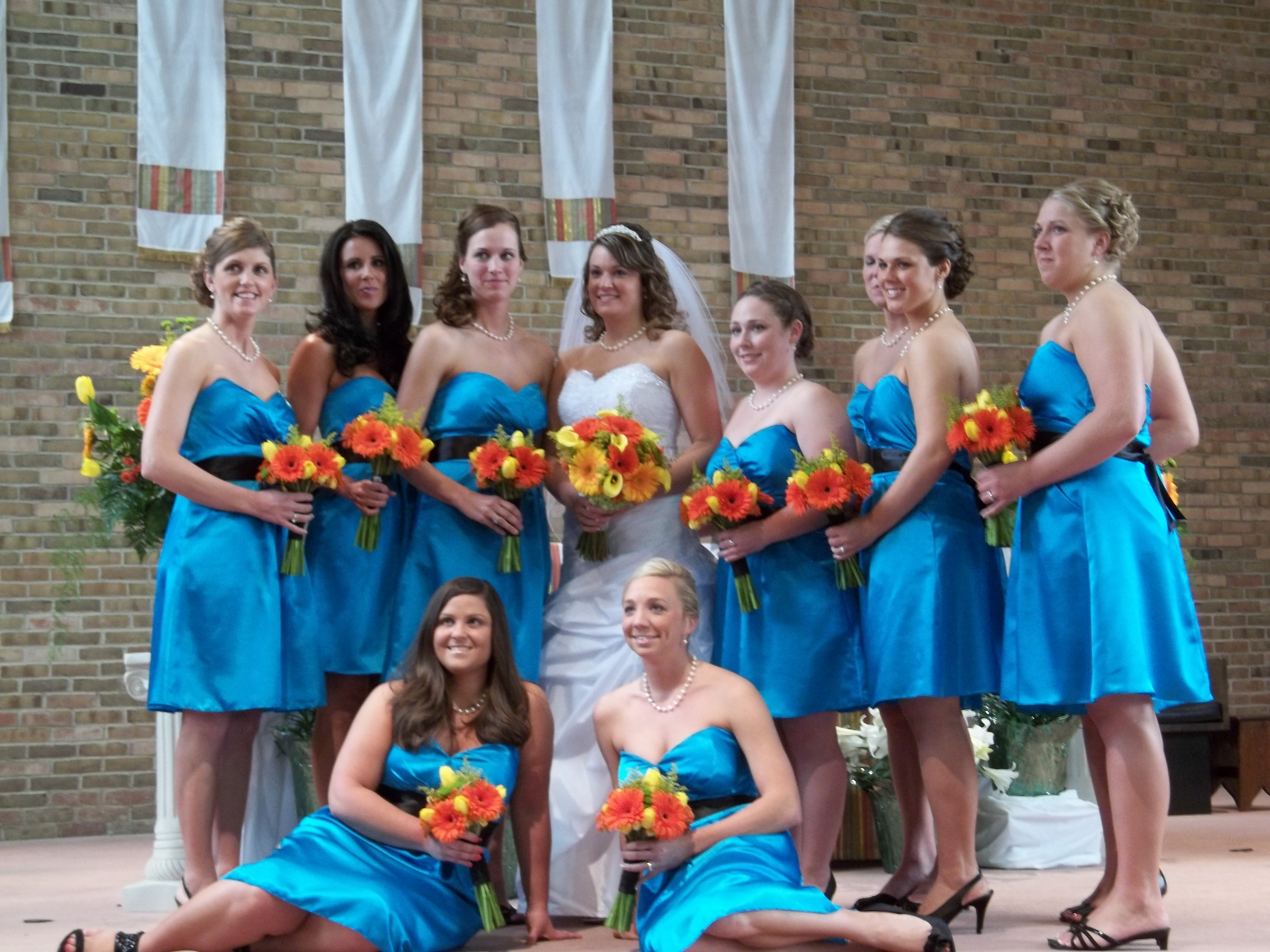Ceremony, Flowers & Decor, Bridesmaids, Bridesmaids Dresses, Fashion, yellow, orange, blue, green, Ceremony Flowers, Bridesmaid Bouquets, Flowers, Flower Wedding Dresses