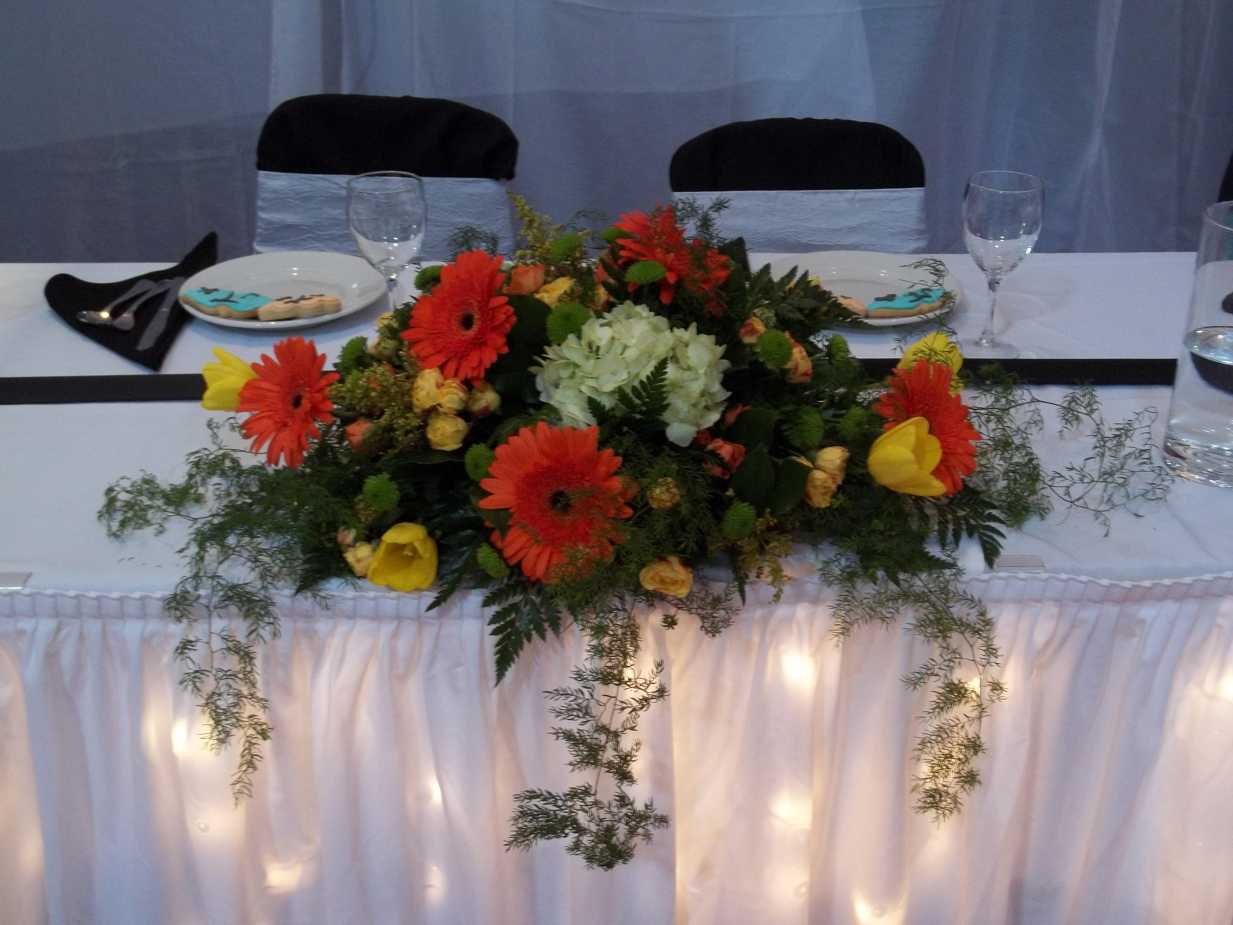 Reception, Flowers & Decor, yellow, orange, green, Flowers