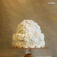 Cakes, white, pink, gold, cake