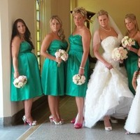 Ceremony, Flowers & Decor, Bridesmaids, Bridesmaids Dresses, Fashion, white, pink, green, Ceremony Flowers, Bridesmaid Bouquets, Flowers, Flower Wedding Dresses