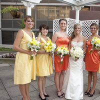 Ceremony, Flowers & Decor, Bridesmaids, Bridesmaids Dresses, Wedding Dresses, Fashion, white, yellow, orange, green, dress, Ceremony Flowers, Bridesmaid Bouquets, Flowers, Flower Wedding Dresses