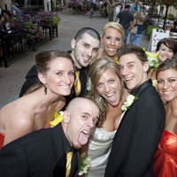 yellow, orange, Bridal party, Poses