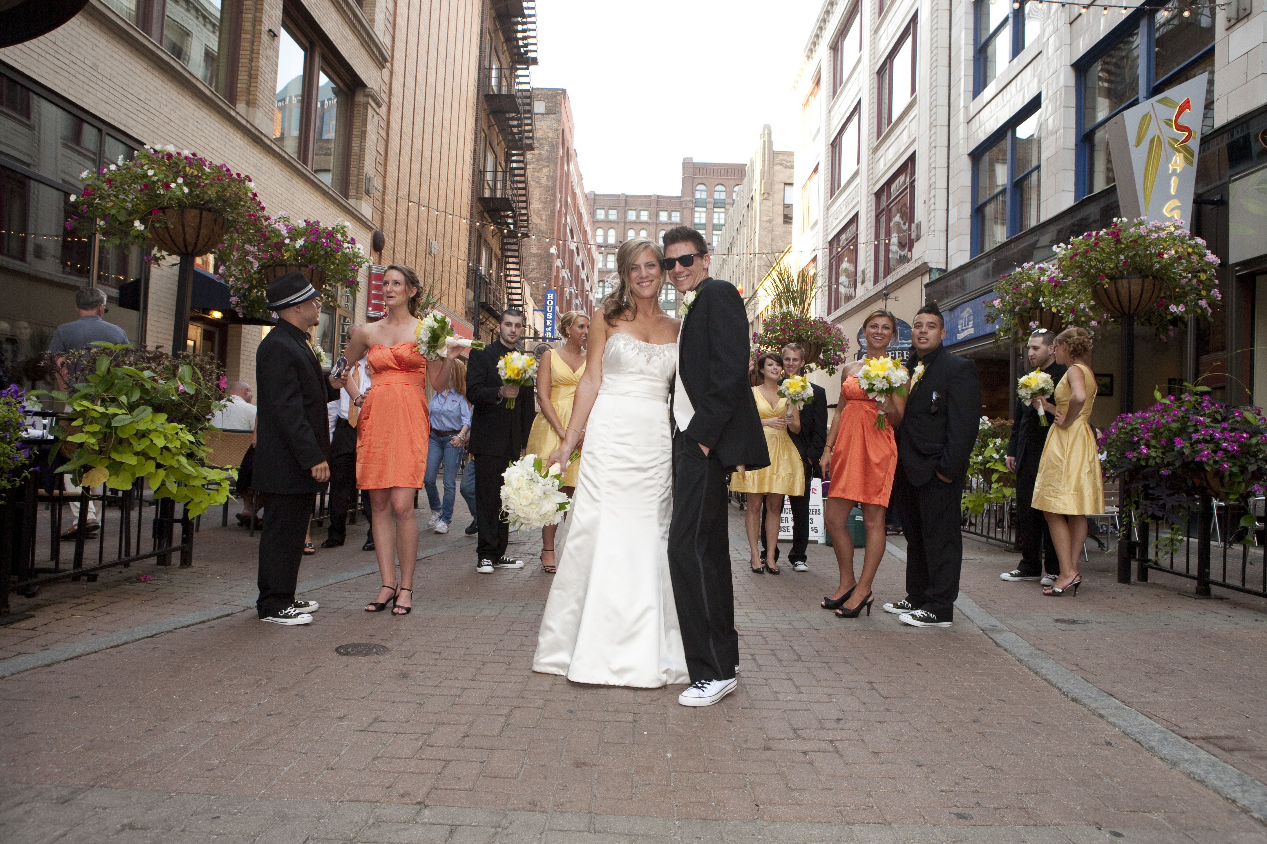 Wedding Dresses, Fashion, yellow, orange, dress, City, Party, Bridal, Jim hjelm, Strapless, Strapless Wedding Dresses, Urban