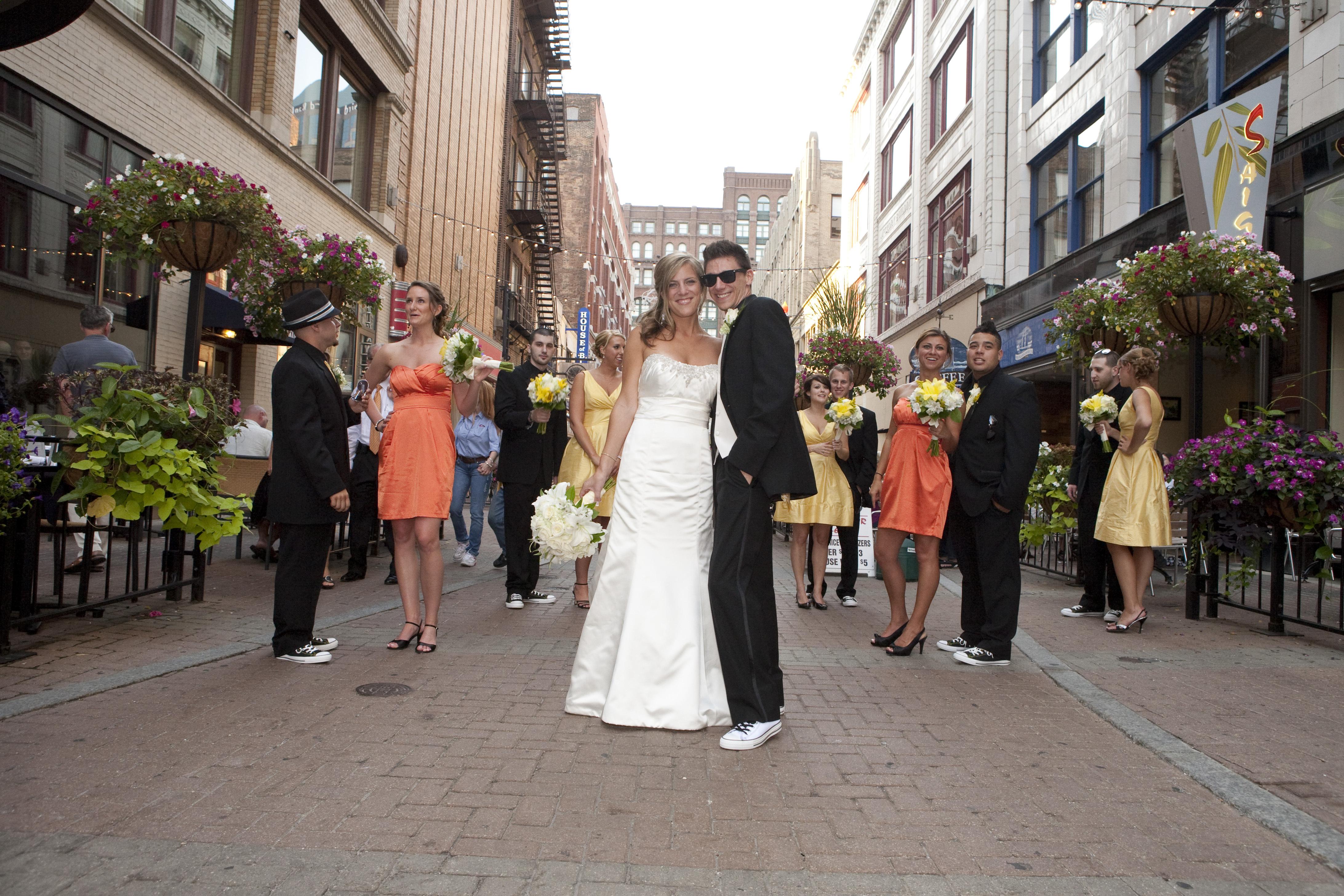 Wedding Dresses, Fashion, yellow, orange, dress, City, Party, Bridal, Jim hjelm, Strapless, Strapless Wedding Dresses, Urban