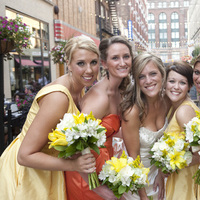 Flowers & Decor, Bridesmaids, Bridesmaids Dresses, Fashion, yellow, orange, green, Bridesmaid Bouquets, Flowers, Bridal party, Poses, Flower Wedding Dresses