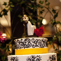 Reception, Flowers & Decor, Cakes, white, yellow, black, cake, Damask