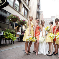 Flowers & Decor, Bridesmaids, Bridesmaids Dresses, Wedding Dresses, Fashion, yellow, orange, dress, Bridesmaid Bouquets, Flowers, Bridal party, Poses, Flower Wedding Dresses