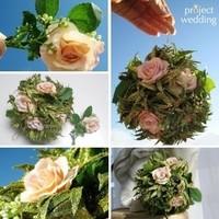 Flowers & Decor, pink, green, gold, Flowers