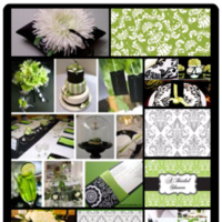 Ceremony, Reception, Flowers & Decor, Wedding Dresses, Fashion, white, green, black, dress, Ceremony Flowers, Flowers, Inspiration board, Damask, Flower Wedding Dresses