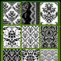 white, green, black, Inspiration board, Damask