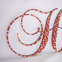 Reception, Flowers & Decor, Cakes, orange, cake, Orange crystal monogram cake topper