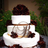 Reception, Flowers & Decor, Cakes, brown, gold, cake, Brown crystal monogram cake topper